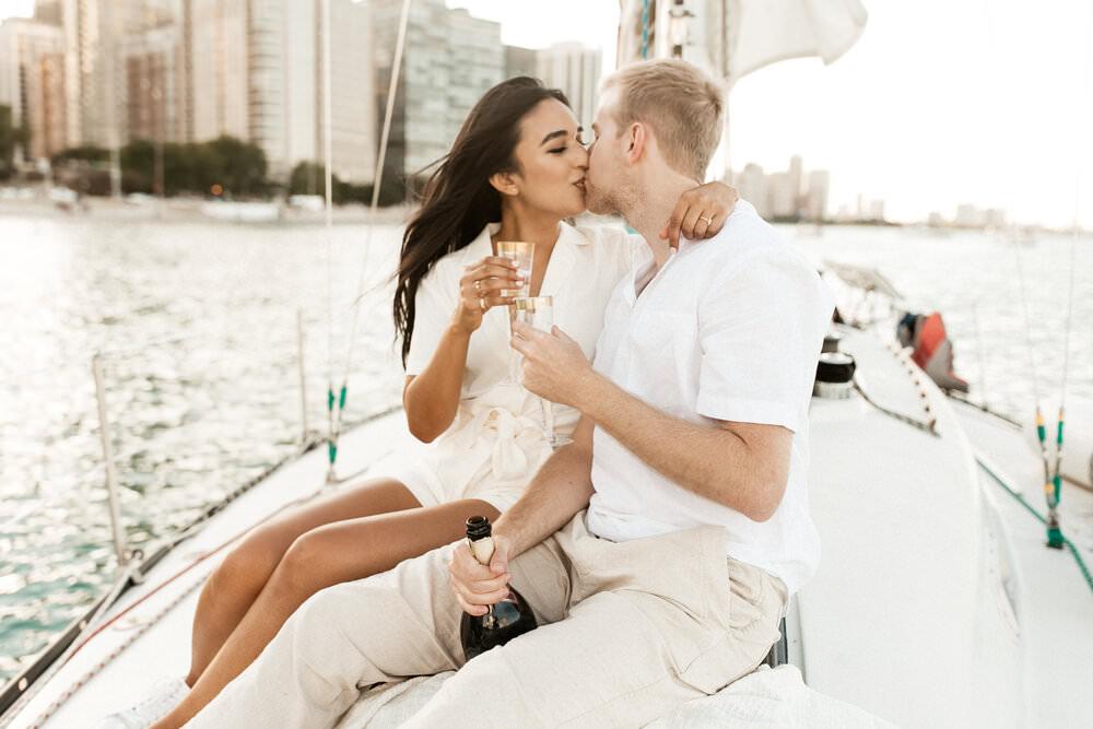 Skyline Sailboat Engagement Pictures   Alyeesha + Joe   Chicago